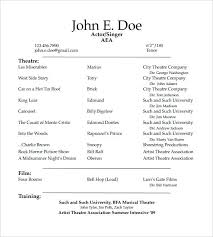 Example Of An Acting Resume Acting Resume Templates Free Samples