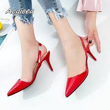 2019 summer Female sandals <b>Pointed Toe high heels</b> Nude color ...