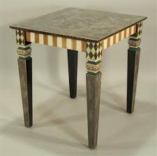 hand painted furnitureCarved Leg End Table CaramelIvory from Suzanne Fitch Handpainted