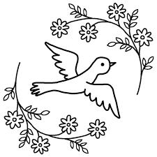 青い鳥と花白黒春の無料イラスト春の季節素材