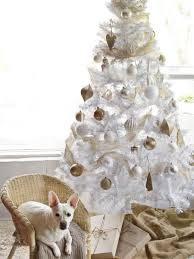 White Christmas Tree With Gold Ornaments and Burlap Tree Skirt