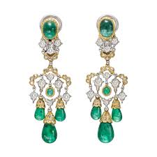 emerald drop chandelier earrings