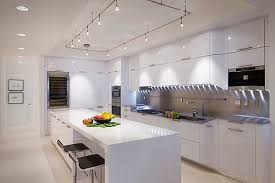 lighting for a kitchen. Rectamgular Kitchen Track Lighting Over White Island For A