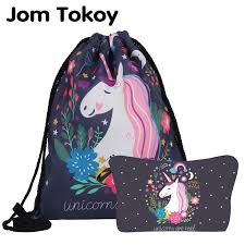 Jom Tokoy New Fashion 2 PCS Printing <b>Women Backpack</b> Unicorns ...