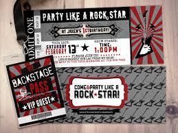 Concert Ticket Invitation Template ROCK STAR Concert Ticket Birthday Party Invitation Music 6