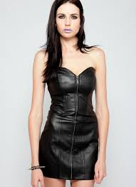 thumbnail strapless black leather dress with full front zipper