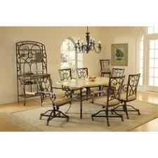 hilale brookside rectangle dining table brown powder coat finished base and fossil stone top