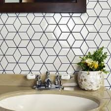 SomerTile 10.5x12.125-inch Victorian Rhombus Glossy White Porcelain Mosaic  Floor and Wall