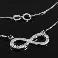 infinity necklace white gold. amazon.com: fine 14k white gold infinity polished pendant necklace with diamonds (16 inches): jewelry