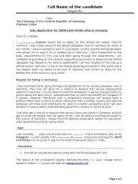 Sample Cover Letter Travel Visa R Sum