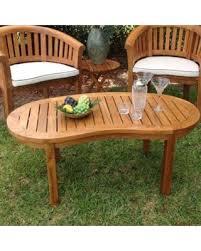 Chic teak furniture Outdoor Furniture Chic Teak Peanut Teak Coffee Table Yhomeco New Savings On Chic Teak Peanut Teak Coffee Table