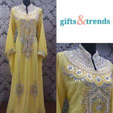 Dubai Jubah Design Womens Kaftan Jubah Dress Full Stone Pearl Dubai Yellow