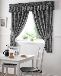 gingham check kitchen window curtains black white