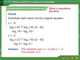 example 2 x 4 check substitute each value into the original equation