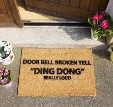 Decorating coir door mats pics : Door Bell Broken Yell Doormat | CKB LTD Funny Joke Coir Doormats