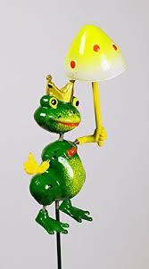 Froschkönig Auf Stab H Ca70cm Grüngelb Frosch Hxb15x8cm Kunststoff
