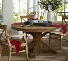 like the style and finish for dining table but in smaller size benchwright fixed pedestal dining table wax pine finish