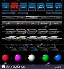 Set Of Shiny Web Navigation Button Templates Stock Vector