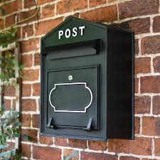 black wall mounted post box with white lettering enlarge free delivery