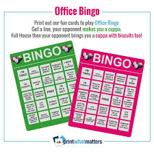 Office Bingo Office Bingo Print What Matters