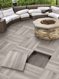 ... Interesting Decoration Patio Floor Tiles Elevated Tile By Serenissima  With A Fire Pit Installed ...