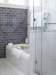 Transitional gray tile and subway tile bathroom photo in San Francisco
