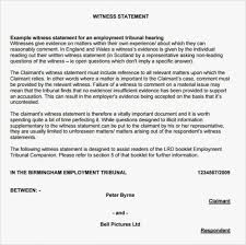 Sample Of Witness Statement Template Page 1 Letter Expert Uk