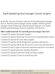 General Resume Outline Top 8 Baseball General Manager Resume Samples