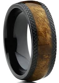 Dome Black Titanium Wedding Band Ring With Real Marble Brown Wood