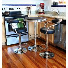N Adjustable Height Bar Table Set In Black With Padded Chairs