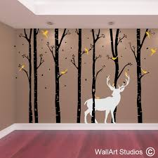 on wall art tree images with birch forest stag wall art vinyl designed by wall art studios
