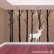birch forest stag wall art vinyl