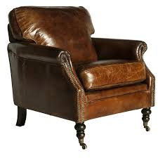 darcy vintage leather club chair l distressed leather french deco leather club chair