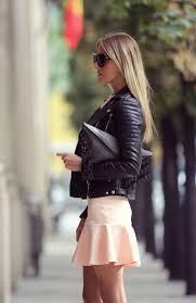 victoria kemerer is wearing a black biker jacket skirt from primkie jumper from zara