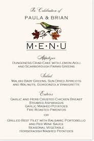 Autumn Dinner Menus Fall Indy Wedding Menu Cards And Rehearsal Dinner Menus With Birds