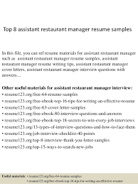 Resume Restaurant Manager Top 8 Assistant Restaurant Manager Resume Samples