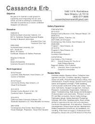Art Resume 2017. Cassandra Erb 1562 1/2 N. Rocheblave New Orleans, LA 70119  (925