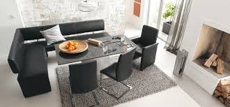 modern dining room table. Stunning Modern Corner Dining Set With L Shaped Black Leather Bench And Chairs Also Square Table Above Grey Rug Room