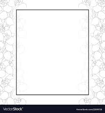 Card Outline Iris Flower Outline Banner Card Border Royalty Free Vector