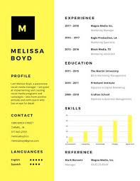 Modern Look Resume Yellow Simple Modern Resume Templates By Canva