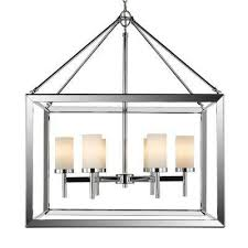 smyth ch 6 light chrome chandelier with opal glass shade