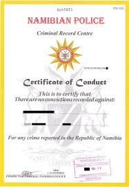 Clearance Certificate Sample Namibian Police Clearance Or Certificate Of Conduct