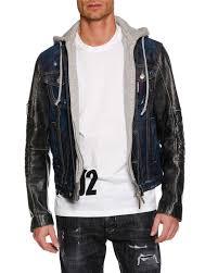 dsquared2men s hooded denim jacket w leather sleeves
