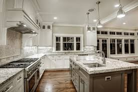 White Kitchen With Granite Counters Kitchen Dining Backsplash Ideas For White Themed Cabinet