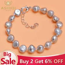 <b>ASHIQI Genuine</b> 925 <b>Sterling</b> Silver Bracelet 9 10mm White Gray ...
