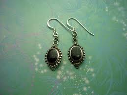 vintage sterling silver earrings black onyx 925 hallmarked style 32