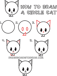 cute easy animal drawings step by step. Beautiful Easy How To Draw A Cute Cartoon Circle Cat With Easy Animal Drawings Step By Pinterest