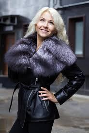 short leather jacket with fur collar genuine fox fur 1522 1