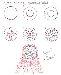 Dream Catcher Patterns Step By Step How to draw dream catcher Henna Easy tutorial DIY henna 3
