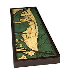 Wood Bathymetric Charts Woodcharts Miami Beach Fl Bathymetric 3 D Wood Carved Nautical Chart